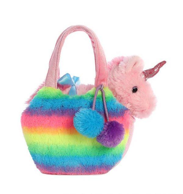 Pink Unicorn in Fluffy Rainbow Bag